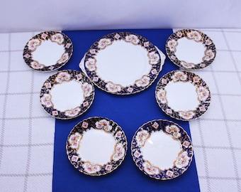 Vintage Royal Stafford Heritage Dessert Set 7 piece Bone China Made in England cake plate and 6 dessert plates Serving Platter Plate