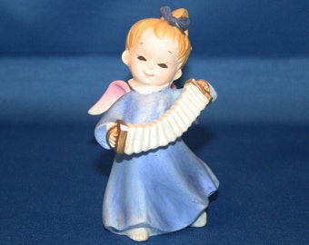 Vintage Lefton Porcelain Angel with Accordion KW1930 Hand Painted Christmas Angels Figurine Figure Musical Angel Japan Knick Knack
