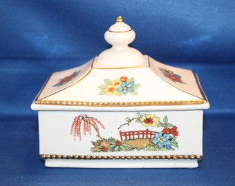 Vintage Erphila Porcelain Rectangle Floral Lidded Box from Germany Jewelry Box Trinket Box Storage Box Czechoslovakian