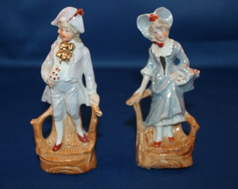 Vintage Porcelain Victorian Couple Figurine 4-1/2 inch tall circa 1892 to 1944 #2283 Figure Knick Knack Hand Painted Collectible Germany