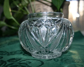 Vintage Glass Rose Bowl Pressed Glass Flower Vase Candy Bowl Footed Tea Light Ball Candle Holder