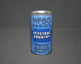 Vintage WFBG Radio's Keystone Country Premium Beer Steel Can Pull Tab Unopened & Empty Collectible Bar Memorabilia Barware Advertisement