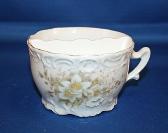 Vintage Shaving Scuttle Shaving Cup Floral Embossed Collectible Mustache Mug Ceramic Porcelain Fathers Day
