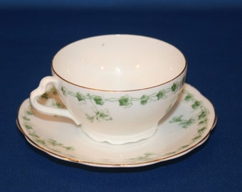 Antique Rorstrand Green Morning Glory and Ivy Teacup & Saucer circa 1914 Hand Painted Tea Cup Tea Party Tea Cup Swedish  Bone China