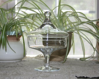 Vintage Princess House Heritage Crystal Pedestal Lidded Candy Dish Apothecary Jar