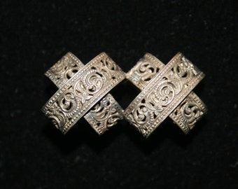 RARE Antique Silver Reticulated Double Lace Collar Pin / Brooch circa 1800s Sterling Silver Victorian Brooch Pin