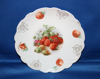 Antique Fruit Pattern Dessert Plate Made in Germany 1887 to 1949 Porcelain Embossed Salad Plate Dinner Plate German Cabinet Plate Charger