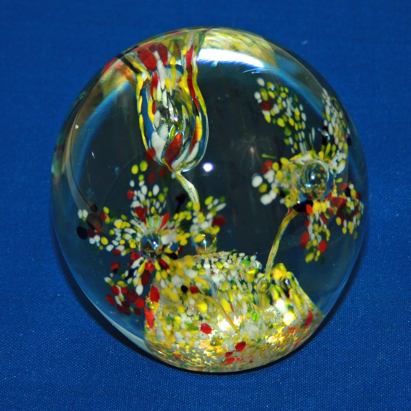 Vintage multi colored triple trumpet flower paperweight glass ball vintage multi colored triple trumpet flower paperweight glass ball presse papiers hand made mouth blown paper weight knick knack mightylinksfo