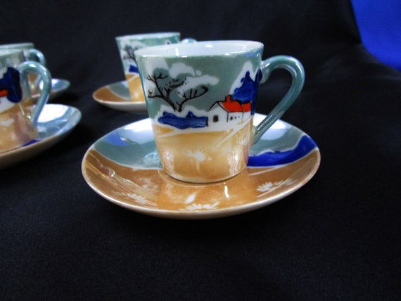 Vintage Lusterware demitasse Tea Cup And Saucer