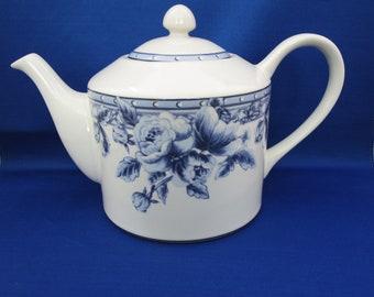 Vintage Teapot PTS International Interiors Cottage Rose Tea Pot Blue Rose Stoneware Ceramic Coffee Pot