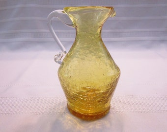 Vintage Amber Crackle Glass Miniature Pitcher Creamer handcrafted bud vase Knick Knack Art Glass Hand Blown Collectible