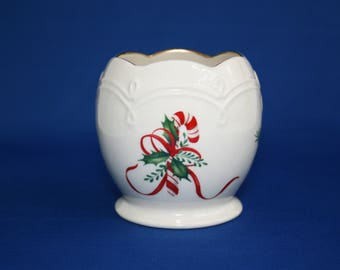 Vintage Lenox China Candy Cane Tea Light Ball Shaped Candle Holder 24kt Gold holiday tealight votive cup Christmas Holidays with Candle
