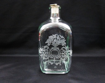 Vintage Shafford Etched Square Apothecary Glass Bottle, Ring Cork Stopper, Stamped 4735 5 9, Jar Made in Portugal