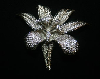 Vintage Large Silver and Clear Rhinestone Crystal Pave Tiger Lily Brooch Jewelry Pin
