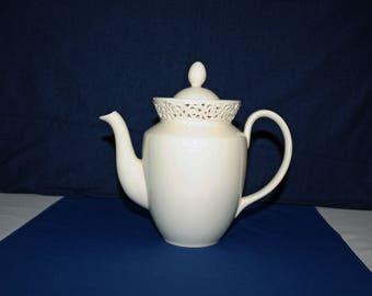 Vintage Coffee Pot by I. Godinger & Co. in the Cream Lace Pattern circa 1990s tea pot Chocolate Pot Tea Pot English Tea Breakfast Coffee Pot