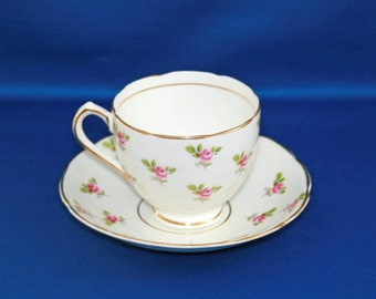 Vintage Duchess Rosebud Teacup and Saucer Bone China  Tea Cup Made in England English Tea Party