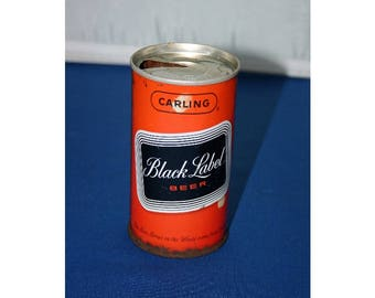 Vintage Carling Black Label Beer Can Ring Pull Tab Steel Beer Can Empty Opened Bar Memorabilia Barware Collectible Breweriana Advertisement