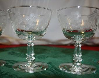 Vintage Set of 6 Crystal Champagne Glasses Wine Glass Goblet Hand Etched Stemmed Water Glass Breweriana Barware Bar