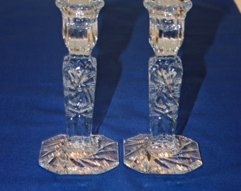 Vintage Pair 6 inch Pressed Glass Candlesticks with Hand Cut Accents set of 2 Candle Holder Crystal Christmas Candle Holders Candlestick