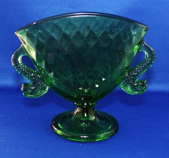 217 & Vintage Fenton Green Art Glass Fan Vase Fish Handles Dolphin Koi Handles 1920\u0027s Pedestal Flower Vase Fenton Glass Co Pillow Cushion