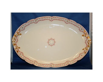 Antique J Pouyat Limoges Rose Decorated Platter and 6 Matching Salad Dessert Plates stamps date to 1891 - 1932 Plate