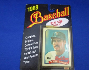 Vintage 1989 Red Sox Baseball Card Team Set by TOPPS Complete Set #1021 Factory Sealed Wade Boggs Roger Clemens Jim Rice Spike Owen