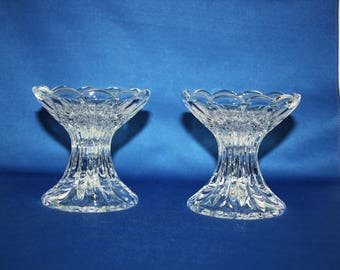 Vintage Pair Lead Crystal Barbell Shaped Floral Candlesticks set of 2 candle holder – Wedding, Holiday, Christmas, Birthday candlestick set