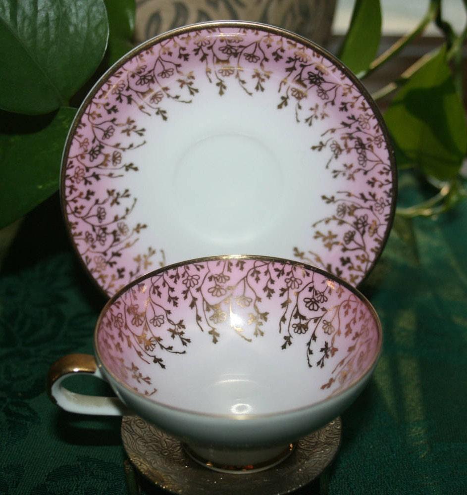 Vintage Rwk Demitasse Teacup And Saucer Pink And Gold Tea