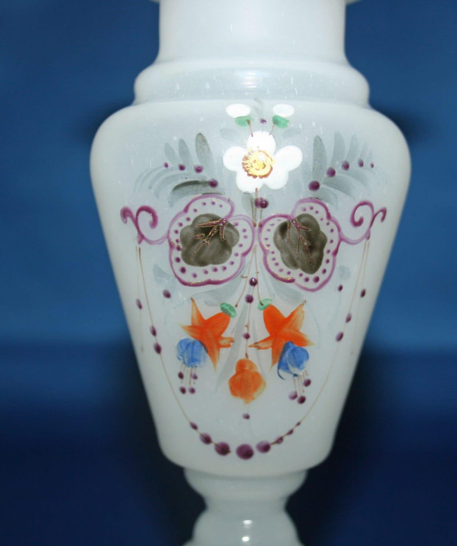 Antique Bristol Glass White Ruffle Top Bud Vase Victorian Hand Blown Hand Semi Opaque Opaline