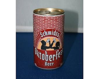 Vintage Schmidt's OKTOBERFEST Steel Beer Can Pull Tab Unopened Empty Bar Collectible Barware Memorabilia Breweriana Advertisement