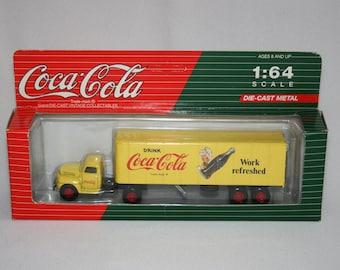 1991 Coca Cola 1950 1/64 scale Yellow Ford F1 Tractor Trailer Die Cast Metal Truck by Hartoy, Inc. Coke Memorabilia Collectible Sprite Boy
