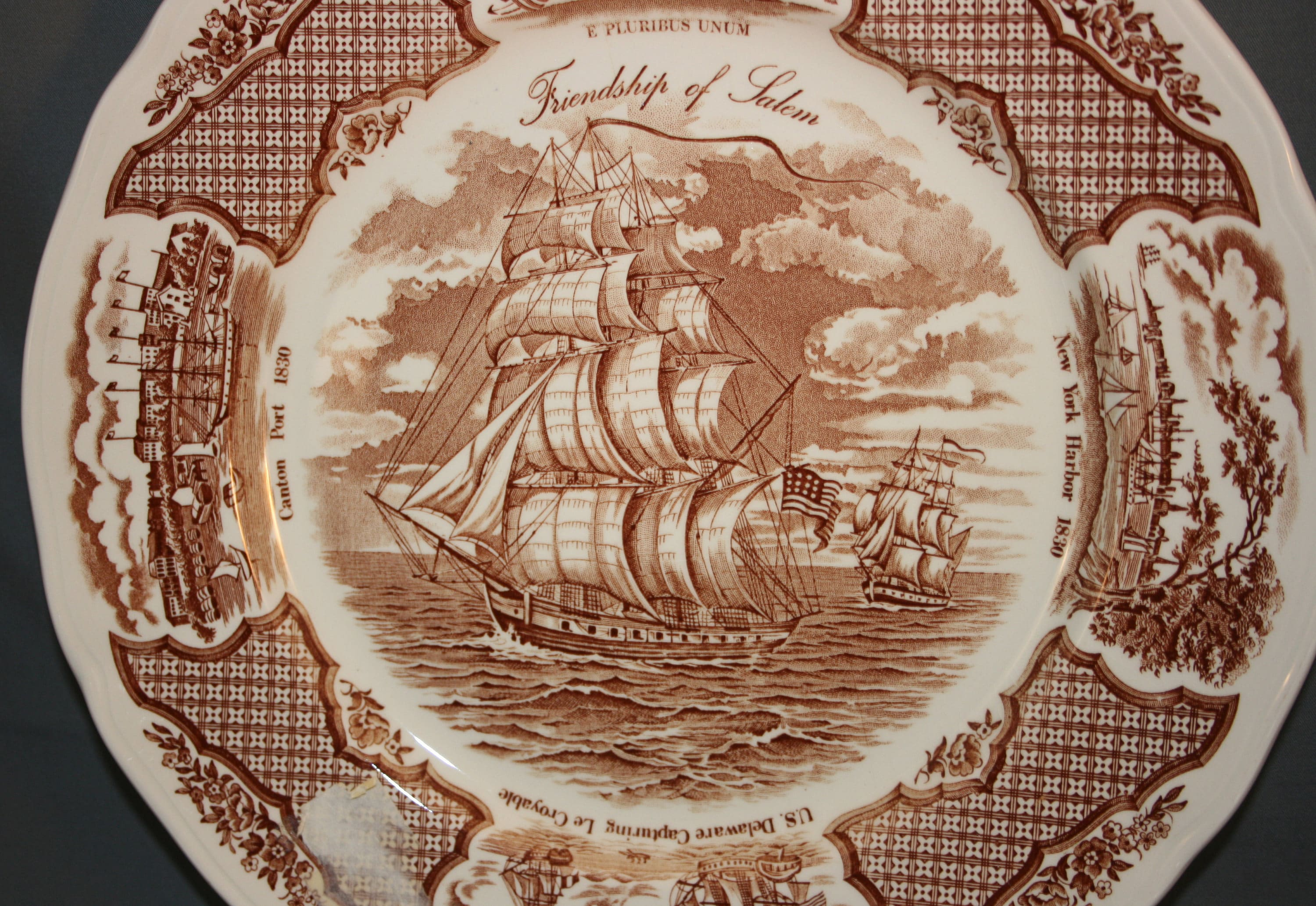 Collectibles Alfred Meakin Picture Plate Fair Winds Historical Scenes Ships China To Usa