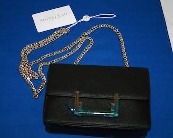 Vintage Authentic Shiraleah Black Evening Bag - Purse - Over Shoulder Purse polyurethane Vegan Leather