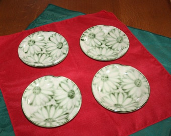 Vintage Pottery Tea Bag Rest Butter Pat Plate Hand Painted Daisy's Dishes Daisy Dish Set of 4 Stoneware Handmade Plates