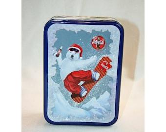 Vintage Coca-Cola Christmas Snow Boarding Santa Polar Bear Tin Collector's Tin - Coca Cola Collectible Coke Memorabilia Ephemera Storage Box