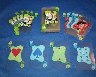 Vintage Sealed Disney Toy Story Clear Plastic Deck of Playing Cards Translucent, Buzz Lightyear & Woody Bo Peep and Al Collectible Ephemera