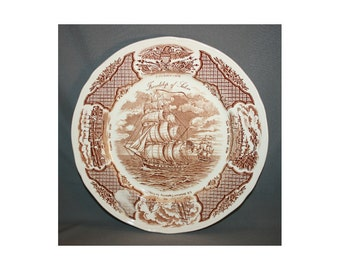 Vintage Alfred Meakin Fair Winds Friendship of Salem Collectors Plate Souvenir Charger Chinese Exports Copper Engraving