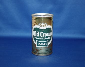 Vintage Old Crown Premium Quality Ale Beer Can Steel Peter Hand Unopened Bar Memorabilia  Barware Collectible Advertisement Breweriana