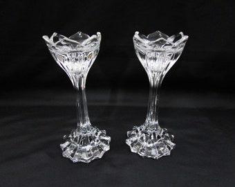 "Vintage Gorham Lotus 7"" Candlesticks Pair Lead Crystal Candle Stick Holder Candlestick"