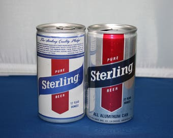 Two Vintage Pure Sterling Beer Can G. Heileman Brewing Co Aluminum Cans Bar Memorabilia Barware Collectible Breweriana Advertisement