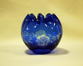 Vintage Czechoslovakia Bohemian Blown Art Glass Cobalt Blue Ruffle Top Rose Bowl Vase Cut to Clear Crystal Vase Czech pinched top