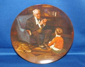 Vintage Edwin M Knowles Norman Rockwell Heritage Collectors Plate - The Tycoon 1982 Collectible Plate Cabinet Plate