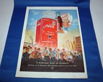 Coca Cola 1952 Magazine Advertisement A Welcome Host to Workers with Sprite Boy, a Coke and a Red Coke Vending Machine Ephemera Memorabilia