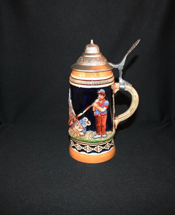 Vintage KING Alphorn Alpine Horn Beer Stein German