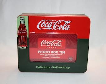 Vintage Coca-Cola Photo Box Tin Coke Bottle Collector's Tin - Coca Cola Collectible Coke Memorabilia Ephemera Storage Box Tin