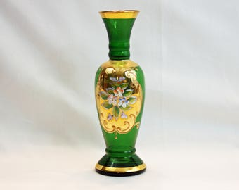Vintage Lefton Emerald Green Bud Vase Gold Gilding Enamel Flowers Hand Blown Hand Painted Bohemian Czech Art Glass Flower Vase Moriage Japan