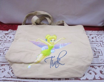 Vintage Disney Tink Tan Canvas Zippered Tote Bag, Tinkerbell Tinker Bell purse