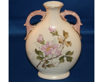 Vintage Tan Pillow Vase Hand Painted with Gold Gilding and Pink Roses Ceramic Pottery Flower Bud Vase  Knick Knack Urn