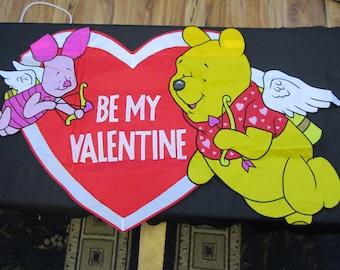 Vintage Disney Winnie the Pooh and Piglet Be My Valentine Garden Flag 40x25 Retired  #26507 Valentines Day Holiday Disneyana Pooh Bear
