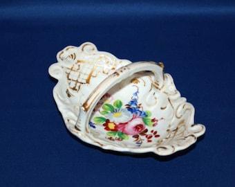 Antique Porcelain Oval Basket Hand Painted Florals Embossed Vines trinket dish, candy basket, dresser basket nut dish Jewelry Ring Dish